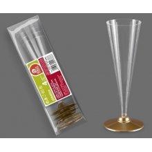Bolsa de 4 Copas de Cava tipo Flauta con el Pie color Oro de 120 cc 268600 (1 ud)