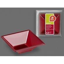 Paquete de 12 Bol Cuadrados de color Burdeos de 12x12x4cm 271900 (1 paquete)