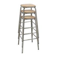 Taburete alto de acero metalizado y asiento de madera DE479 Bolero (Juego 4)