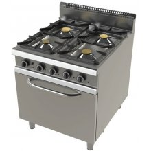Cocina a gas modular 4 fuegos con horno y válvula termostática 800x730x900h mm FO9C401VT