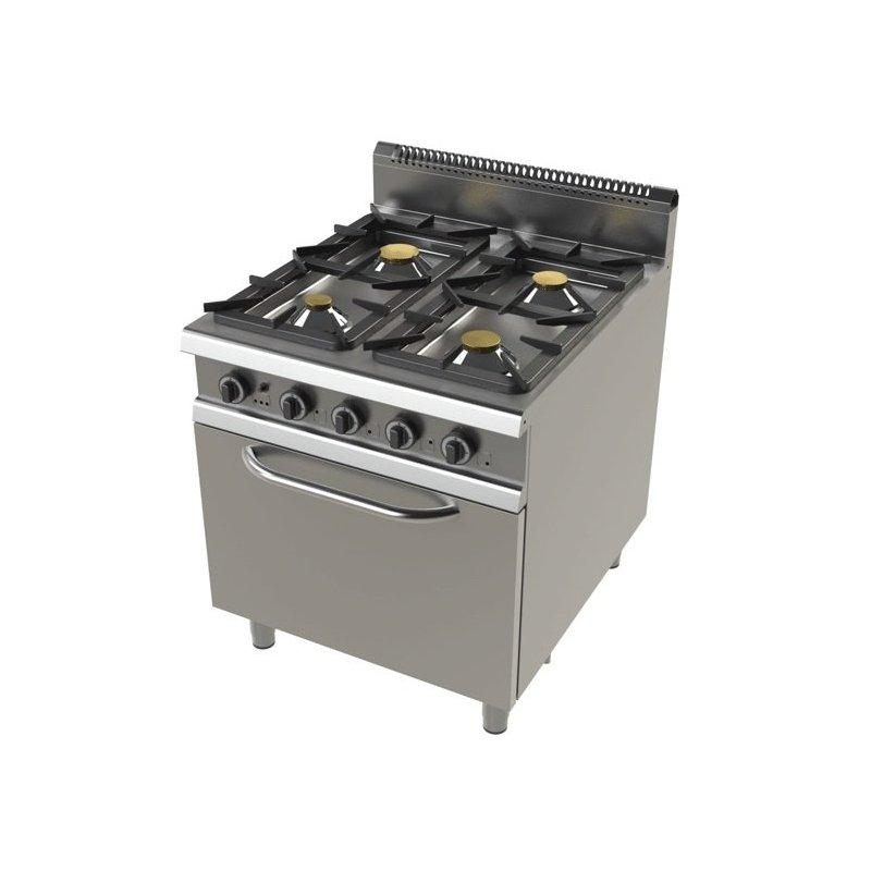 Cocina a gas modular 4 fuegos con horno y v lvula for Cocina 4 fuegos con horno a gas