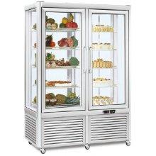 Armario refrigerado Especial Pastelería 4 caras de cristal 800 litros con 8 estantes fijos EUROFRED PRISMA800GTN