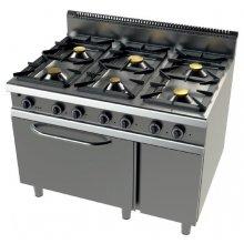 Cocina a gas con horno MAXI GN2/1 válvula termostática 6 fuegos Serie 900 JUNEX de 1200x900x900h mm 9601FC/3