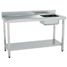 Mesa de Trabajo Acero Inoxidable CON Cubeta CON Estante de 1600 x600 x850h mm MCIC616