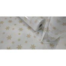 Rollo Mantel Blanco TNT Precortado 1.2x50cm Blanco + Estrellas Oro NRPD1.2BLESOR (1 ud)
