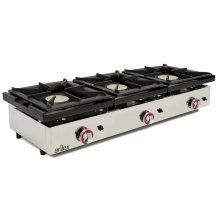 Cocina a gas de 3 fuegos de 6 + 6 + 6 Kw con medidas 1210x457x240h mm120CG