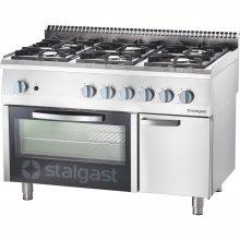 Cocina a gas con horno a gas GN2/1 6 fuegos 1200x700x850h mm 3,5+2x5+2x7+9 Kw Línea Varsovia