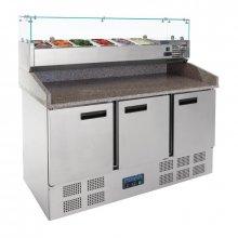 Mostrador de preparación de Pizzas y ensaladas de 3 puertas en Acero Inoxidable con superficie de granito 368 Litros G623 POLAR