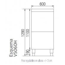 Lavaobjetos industrial cesta de 50 x 60 cm altura lavado 405 mm V5060