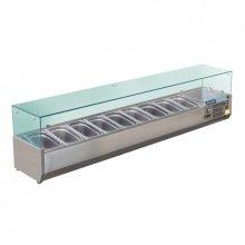 Vitrina Refrigerada de Ingredientes con cubierta de cristal para 9 cubetas GN de 1/3 GD878 POLAR