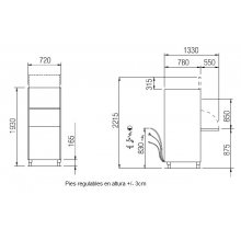 Lavaobjetos industrial con cesta de 56x63 cm. V5663