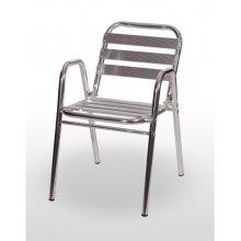 Sillón armazón aluminio tubo 30x1,5 con 4 lamas en asiento y 3 en respaldo BARCELONA