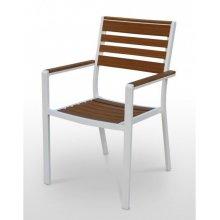 Sillón armazón aluminio blanco 38x19, asiento, respaldo y brazos madera Polywood LANZAROTE