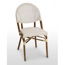 Silla armazón aluminio 28x1,5 color dark bambú, asiento y respaldo Textilene FLANDES