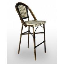 Taburete armazón aluminio 28x2 color dark bambú, tejido rattan crema-moka TABURETE NIZA RESPALDO