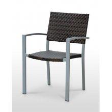 Sillón estructura aluminio gris asiento respaldo tejido rattan BERLÍN RATTAN