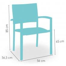 Sillón estructura aluminio blanco con asiento y respaldo en textiline color gris claro BERLÍN TEXTILINE