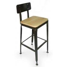 Taburete en acero angular y asiento en madera maciza TABURETE BRATISLAVA