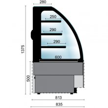 Vitrinas Refrigeradas Mural abierto lado clientes fondo 810 VERM-1000-C EDENOX