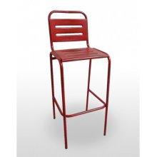 Taburete apilable con asiento y respaldo en rejilla metálica VERACRUZ