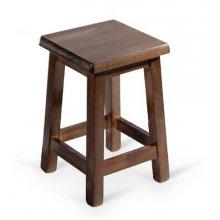 Taburete de madera de pino con asiento de madera TABURETE COLONIAL BAJO