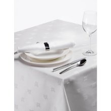 Mantel blanco Adamascado Hiedra 1370x1780mm algodón 100% CE493 (1 ud)