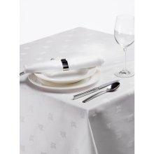 Mantel blanco Adamascado Hiedra 1370x2743mm algodón 100% CE494 (1 ud)