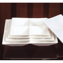 Caja de 4 Platos Cuadrados de 4 Compartimientos Porcelana de 24x24cm 131.09 GDP (Caja 4 uds)