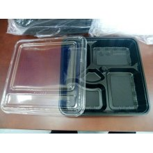 Pack 50 uds Cofres 5 compartimientos 27,8x27,6x5cm Negro + Tapa transparente 165.85 GDP (1 pack)