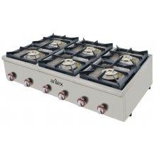 Cocina a gas serie PLUS fondo 75cm de 6 fuegos de Doble corona y llama piloto con potencia 3x7,5 + 3x4,5 Kw 120CG75PLUS