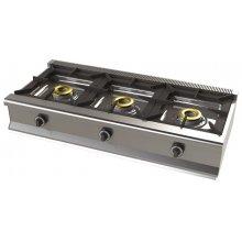 Cocina a gas sobremesa de 3 fuegos 8+8+8 Kw SerIe 550 JUNEX con medidas 1200x550x240h mm 6300B/1