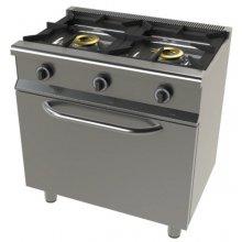 Cocina a gas con horno GN1/1 4,5 Kw, 2 fuegos 8+8 Kw SerIe 550 JUNEX con medidas 800x550x850h mm 6201/1