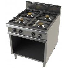 Cocina a gas con mueble de 4 fuegos 4,3+8,3+10+8,3 Kw Serie 900 JUNEX de 800x900x900h mm FO9C400