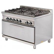 Cocina a gas 6 fuegos 6x8kw con horno MAXI 7,5kw 1275x900x900h mm GR932 MAXI ARISCO