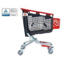Carro de la compra Loop 160L rueda simple sin monedero rojo con cesta 223699 ARAVEN (1 uds)